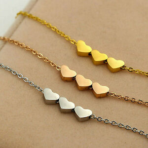 Elegant-Stainless-steel-Women-039-s-Jewelry-three-Heart-Charms-Love-Necklace-Pendant