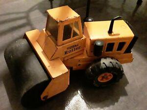 Vintage-Rare-Orange-Tonka-Roller-Steel-Toy-Construction-Vehicle-Big