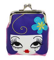 Fluff Coin Purse Kiss Lock Bag Pouch Doll Face Purple Hair Blue Flower Head