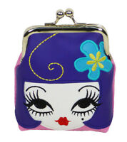 Fluff Coin Purse Kiss Lock Bag Pouch Doll Face Purple Hair Blue Flower Head