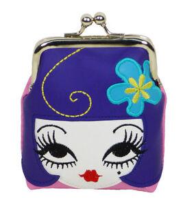New FLUFF Coin Purse KISS LOCK Bag Pouch DOLL FACE Purple Hair Blue Flower HEAD