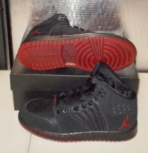 d747fa8179d7 NIKE JORDAN 1 FLIGHT 4 PREM PREMIUM BG Womens 6 (4.5Y) Black Red ...