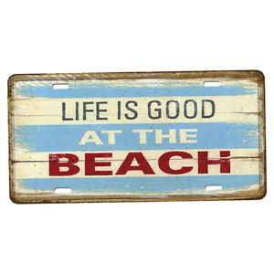 Details About Tin Metal Poster Sign Plaque Bar Pub Wall Decor Life Is Good At The Beach