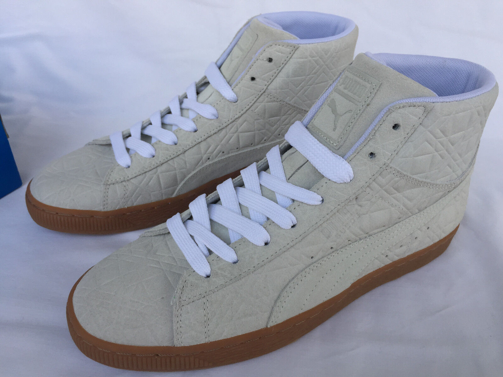 Puma Suede Mid Emboss FA 36223902 Wht Gum Sneakers Chaussures Homme  Skate Futbol