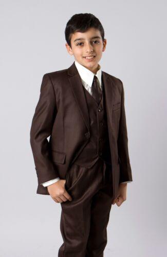 Boys 5 Piece Suit Kids Formal Dress Toddler Suits Outfit Set With Vest Tie Shirt