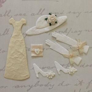 Topper Set: Crema de tarjeta de boda nupcial Vestido, Sombrero floral, zapatos, guantes y bolso de mano