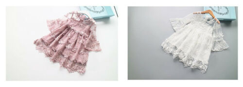 White Pink Lace Tulle Flower Girl Dress Wedding Party Dress 3-7Y