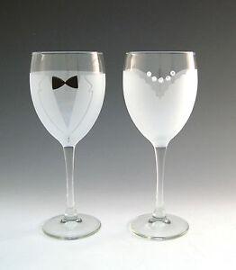 Asta-Hand-Etched-Bride-amp-Groom-Wine-Glass-Wedding-Toasting-Glasses-Set-of-2