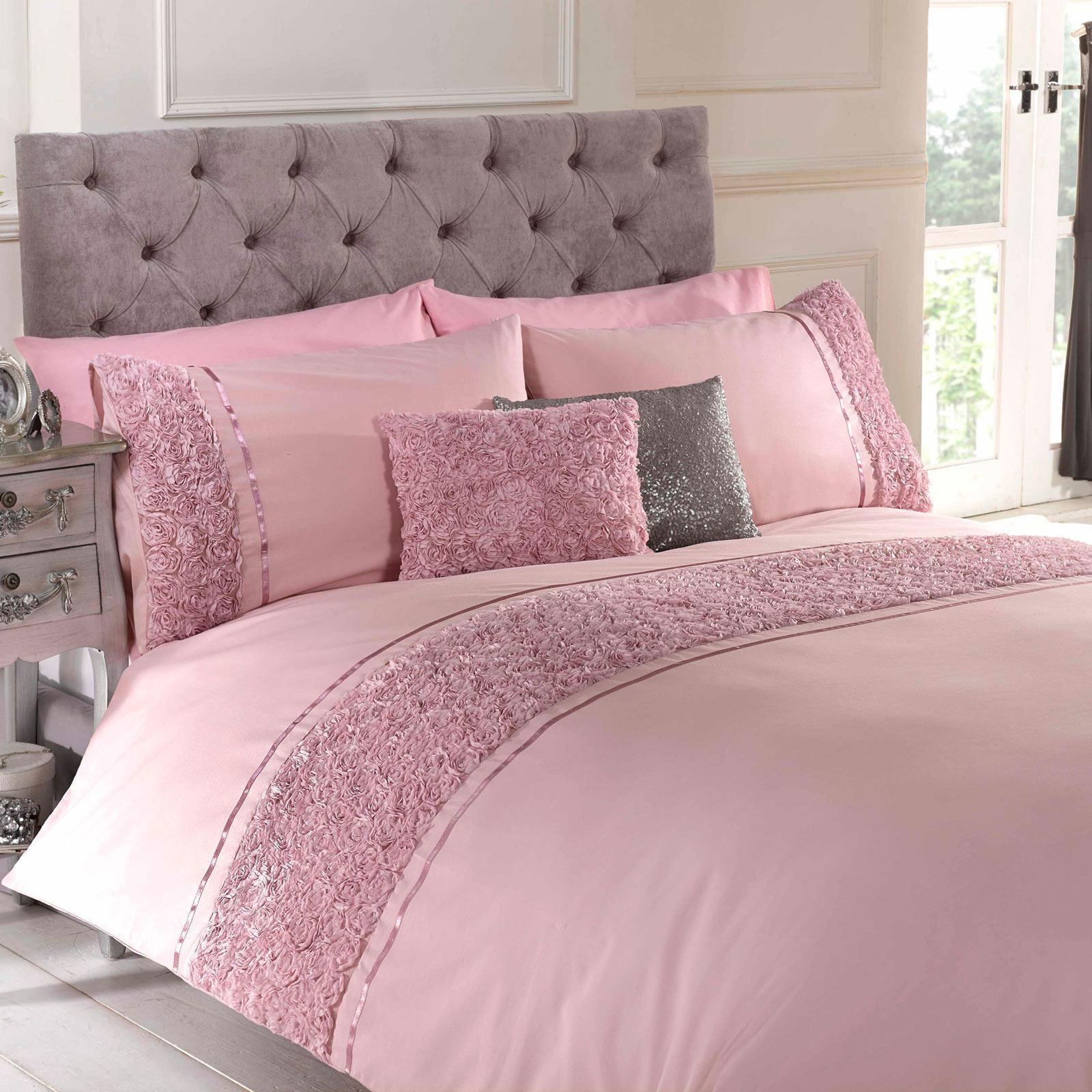 LIMOGES pink RUFFLE blueSH PINK SINGLE DUVET COVER & PILLOWCASE SET