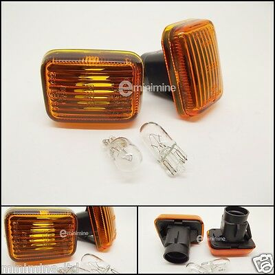Amber Orange Side Repeaters Indicators Lights Lenses Lens For Classic Mini//Land Rover