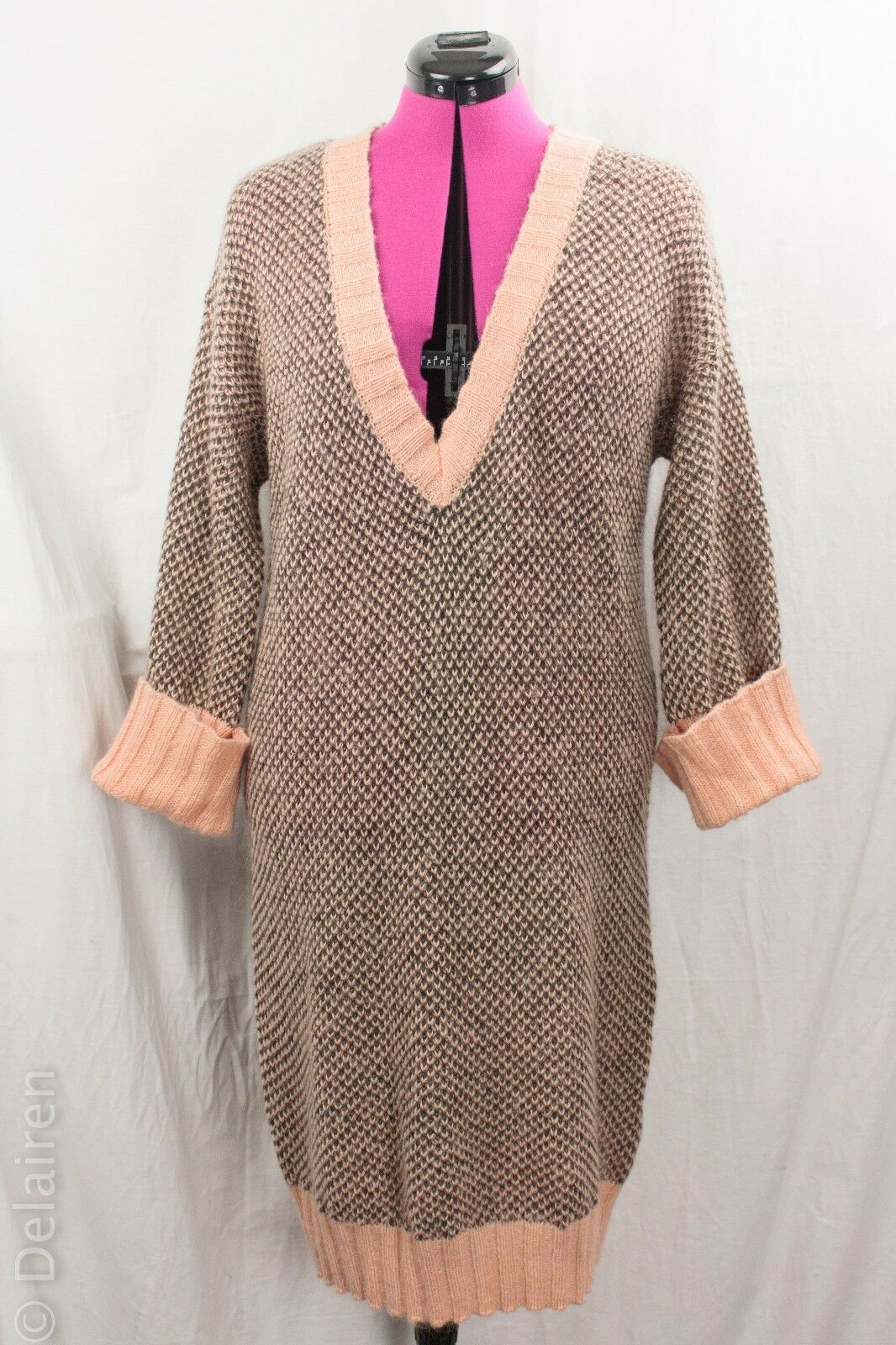 Lagenlook Quirky Birds Eye Mohair Blend Airy Knit Sweater Dress Tunic Sz M OSka