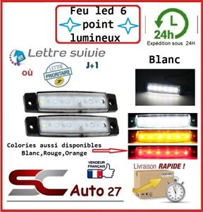 Feu de jour LED véhicule/remorque alimentation 12 volt 6 point lumineux BLANC