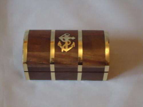 Small Treasure Chest With Brass Anchor Gift Box Marine Sea Nautical Wooden Box