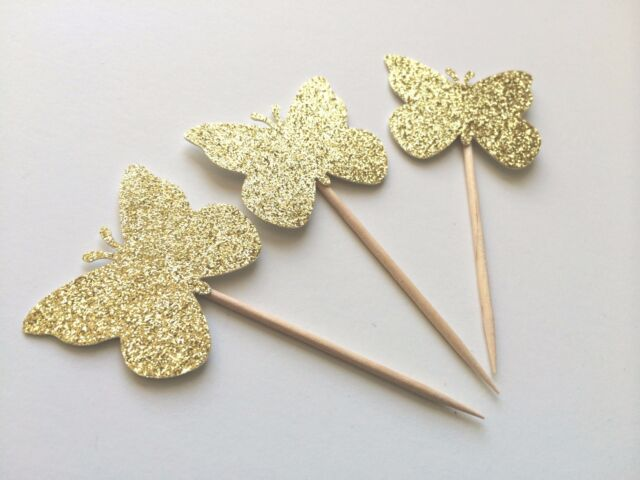 10 Gold Glitter Butterfly Cupcake Toppers. Birthday or Bridal Shower Cupcakes