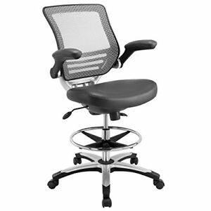 Image Is Loading Modway Edge Drafting Chair In Gray Vinyl Reception