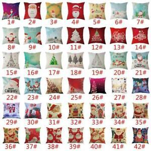 Navidad-Santa-Claus-Funda-de-Almohada-Lino-Cubierta-para-Cojin-Decoracion-Hogar-Sofa-Tirar