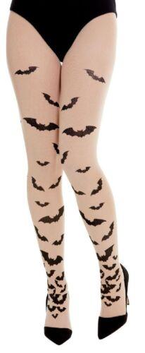Ladies Halloween Spooky Creepy Bat Print Fancy Dress Costume Outfit Tights