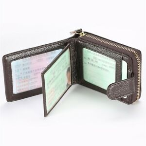 efe8297f0994d Wallet Genuine Leather Business ID Credit Card Holder Coin Purse For ...