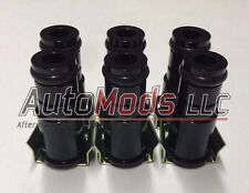 "Set of 6 1.0"" Tall Fuel Injector Top Hat Extender Black 14mm camaro mustang"