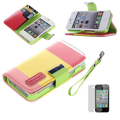 Hybrid Leather Wallet Flip Pouch Case Cover Stand with free gift For iPhone 4/4S