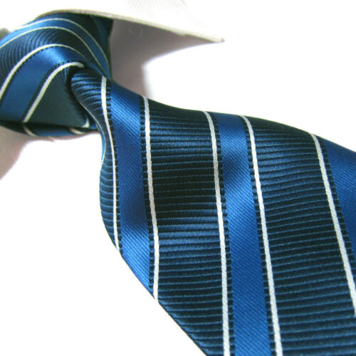 "XL Fashion Polyester Tie Microfibre Blue Stripe Necktie TPL354 63/"" Extra Long"