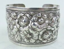 Big sterling silver heavy floral repousse antique cuff bracelet