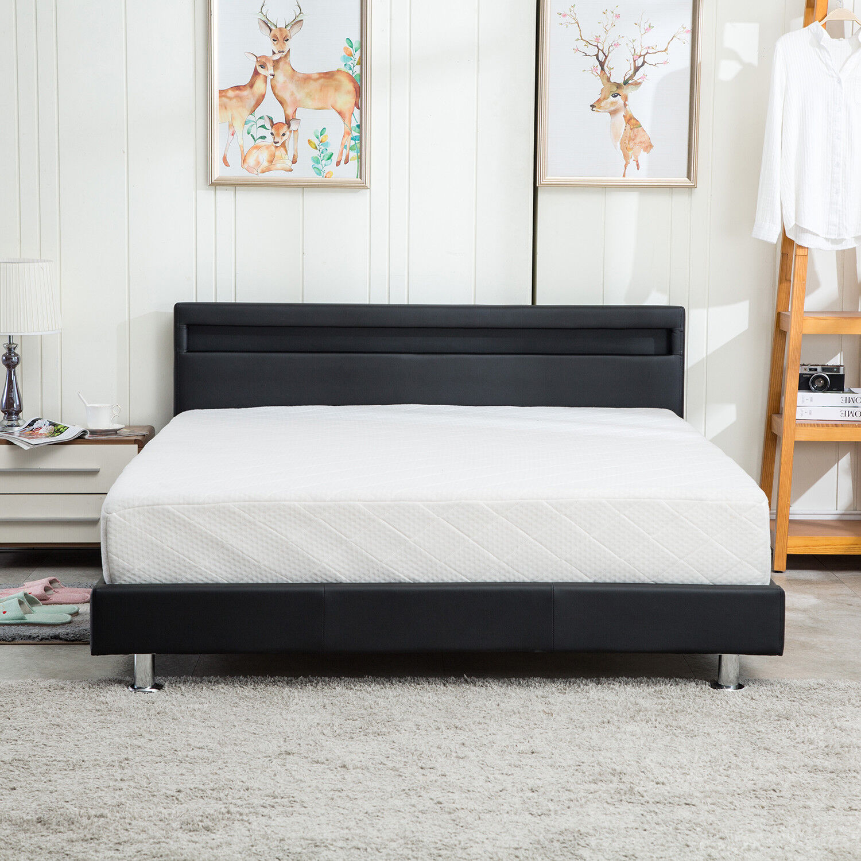 Modern Full Size Bedroom Platform Bed Designer Frame Headboard Led Light Black For Sale Online Ebay