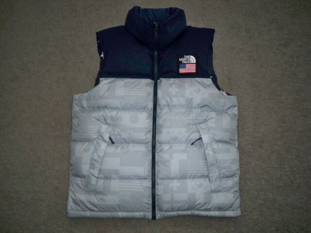 b00e9c68c Mens NWOT 2018 USA OLYMPICS THE NORTH FACE NUPTSE Goose Down Vest M BLUE &  GRAY