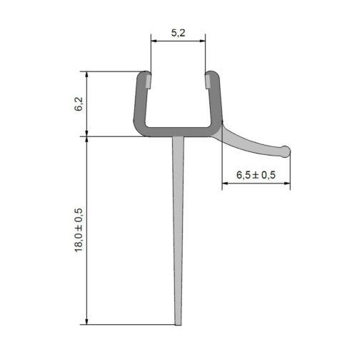 Duschdichtung Wasserabweisprofil lange Fahne für 6mm Glas Duschen 2010mm