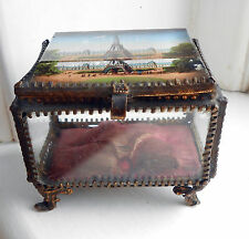 Vintage French Ormolu Bevel Glass Jewellery/Trinket Box Casket - Eifel Tower
