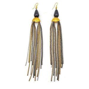 Brass-Metal-Resin-Seed-Beads-Dangle-Earrings-Statement-Jewelry-Long-Drop-Earring