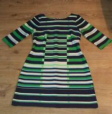 """37"""" Striped Dress size 12-14 Navy White Green Sky Blue Stretchy Boat Neck"""