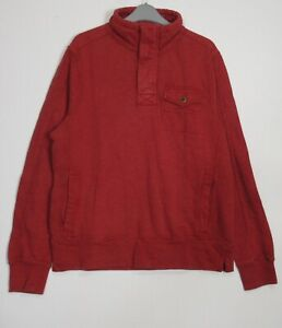 New-Fat-Face-Men-039-s-Brick-Red-Half-Button-Vintage-Washed-Funnel-Sweat-Top-XS-XL