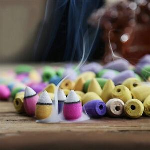45xNatural-Bullet-Sandalwood-Fragrance-Incense-Backflow-Cones-Tower-Buddhism-YF