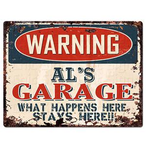 PPFG0435-WARNING-AL-039-S-GARAGE-Tin-Chic-Sign-Home-man-cave-Decor-Funny-Gift