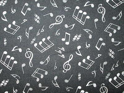 MUSIC NOTES WILD WHITE BLACK BACKGROUND COTTON FABRIC FQ