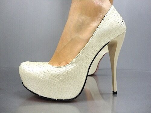 MORI PYTHON ITALY PLATFORM HIGH HEEL PUMPS SCHUHE Schuhe PYTHON MORI LEATHER BEIGE NUDE 40 1d3be8