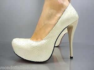 Beige 41 Mori Pumps Nude Italy High Python Leather Schuhe Platform Heel Shoes ZUwz6