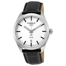Tissot PR100 White Dial Black Leather Mens Watch T1014101603100