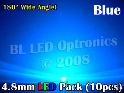 10x Ultra Wide Angle 4.8mm//5mm LED Pack PCB Kit Blue
