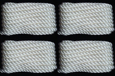 """WHITE Twisted 3 Strand 1//2/"""" x 25/' ft HQ Boat Marine DOCK LINES Mooring Ropes 2"""