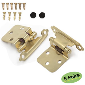 Homdiy SCH30BB Face Mount Brass Kitchen Cabinet Hinges Gold Variable Overlay