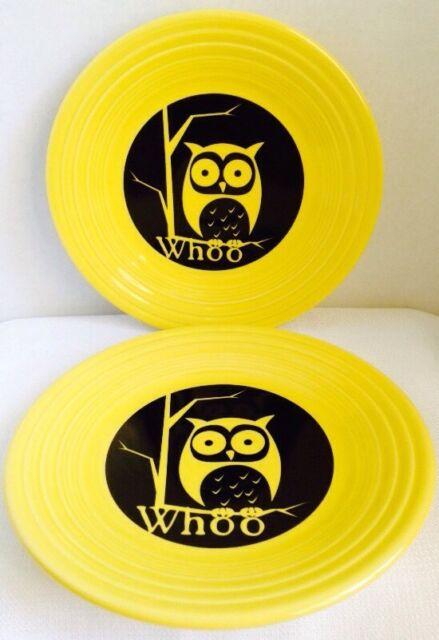 "NWT 2 Fiestaware Fiesta 9"" Halloween Lunch Plates Whoo OWL Yellow Set Pottery"