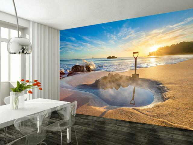 Photo Wallpaper Wall Mural Woven Self Adhesive Art Exotic Beach Sunset M11