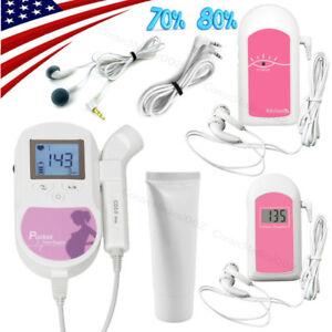 US-Seller-3Mhz-Pocket-Fetal-Doppler-LCD-Prenatal-Heart-Monitor-Baby-Monitors-GeL