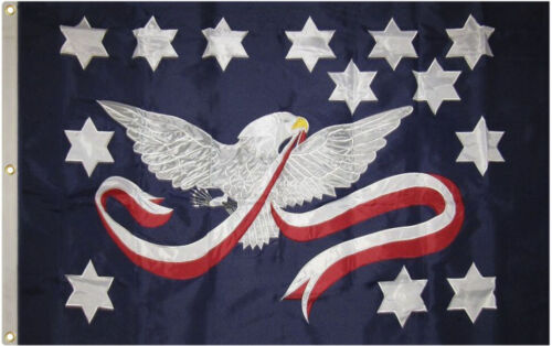 3x5 Embroidered Sewn Whiskey Rebellion Synthetic Cotton Flag 3/'x5/' 3 Clips