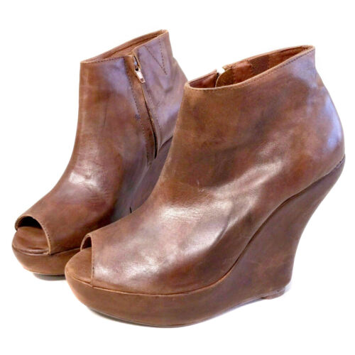8 Jeffrey Campbell TICK NS Brown Leather Peep Toe
