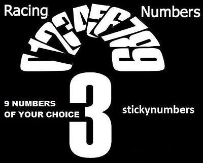 Bike-It 6 inch Motorcycle MX  Numbers Pack of 9 White enduro numbers motocross