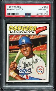 1977-Topps-Baseball-386-MANNY-MOTA-Los-Angeles-Dodgers-PSA-8-NM-MT