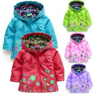 67c0b71fb456 Baby Kids Toddler Girls Autumn Spring Hooded Floral Coat Outwear ...